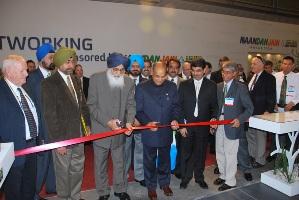 Dhumal and Badal inaugurating Naandan Jain Irrigation stall in Tel Aviv exhibition