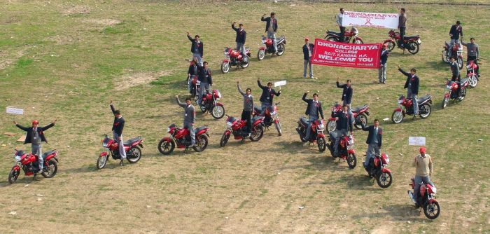 20 bikes red ribbon formation