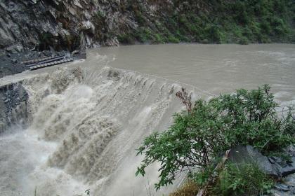 River water over Upstream Coffer dam