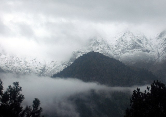 Early Snowfall in Sangla Valley Hills