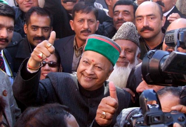 Union Minister of Steel Virbhadra Singh and his wife Pratibha Singh after coming out local court in Shimla on Thursday, from personal appearance in a corruption case, as contained in an audio CD released in 2007. Photo by: Amit Kanwar