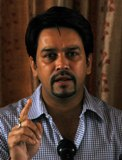 President HP Cricket Association and MP Anurag Thakur addresses media persons in Shimla on Monday.Photo by: Amit Kanwar