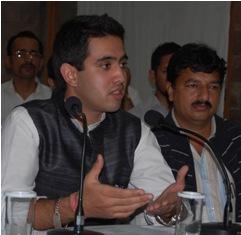 Vikramditya son of Virbhadra Singh addressing media in Shimla on Thursday.Photo by: Amit Kanwar