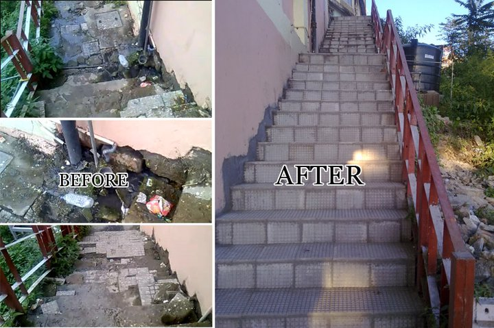 The Stairs outside Software Technology Park(STPI) building block ( Before and After) - Himachal Watcher, how to use eSamadhan, Shimla News, Himachal Pradesh News, Activism