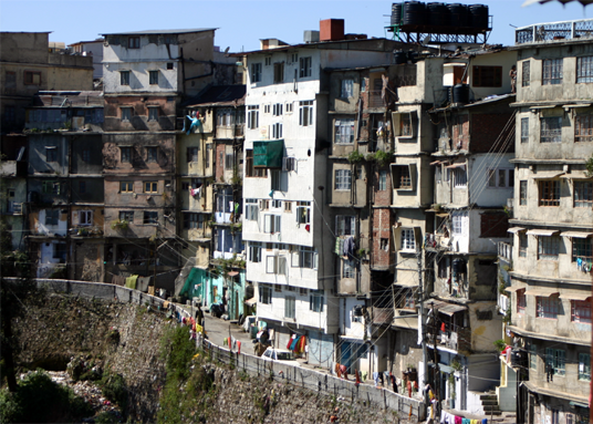 Dangerous multi storyed buildings in Mussorie