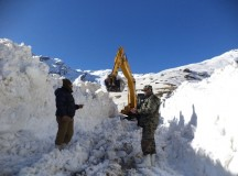 Snow clearing operations atop Rohtang Pass; Photo - Sanjay Dutta