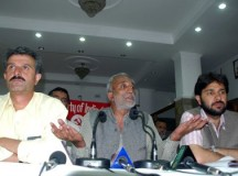 File Photo: CPI(M) Gen Sec Rakesh Singha with Sanjay Chauhan and Tikender Panwar before media on May 29, 2012
