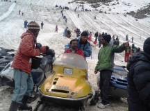 Snow scooters at Solang Slopes near Manali