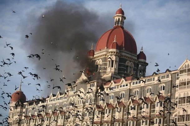 The burning Taj Mahal hotel in Mumbai
