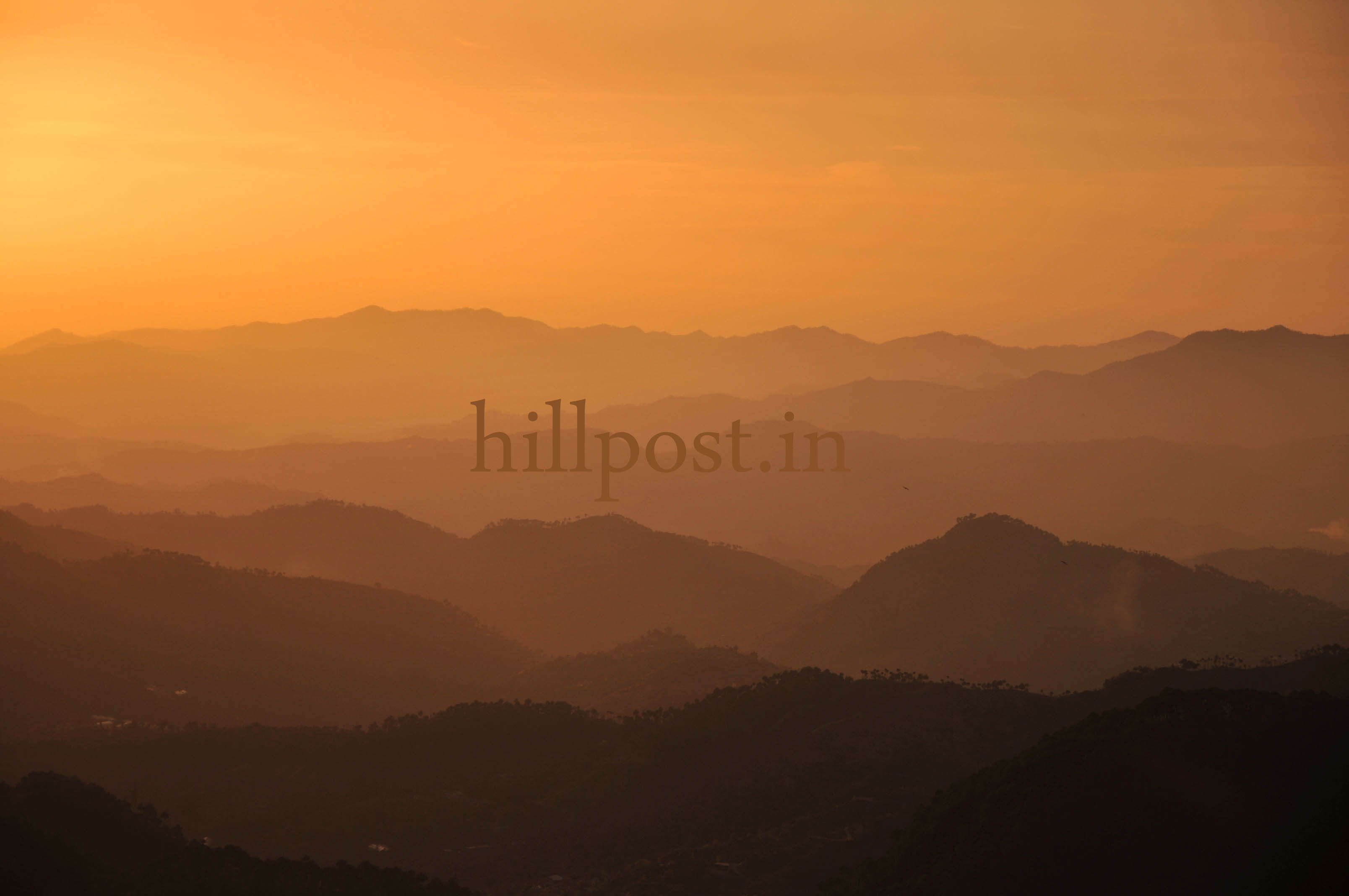 Different mountain ranges visible during sunset in the northern hill town of Shimla