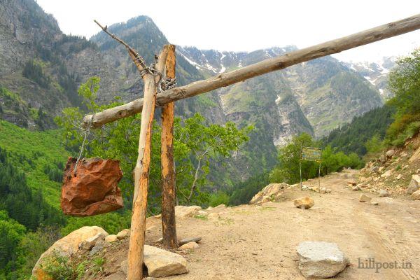 Last Police Post (Barrier) on Himachal - J&K Border (Chamba-Kishtwar State Border)