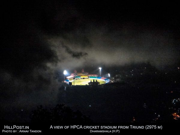 A view of HPCA cricket stadium from Triund (2975 M) Dharamshala (H.P.)
