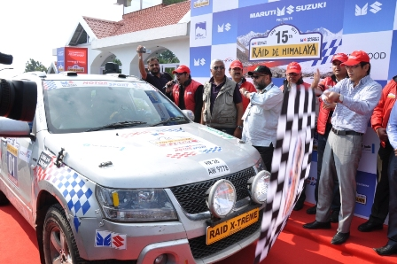 Veteran rallyist Suresh Rana-Ashwin Naik flag of at 15th Raid-De-Himalaya