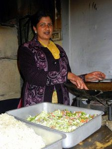 Gurmeet Kaur busy giving final touches to her preparations at the Dhaba