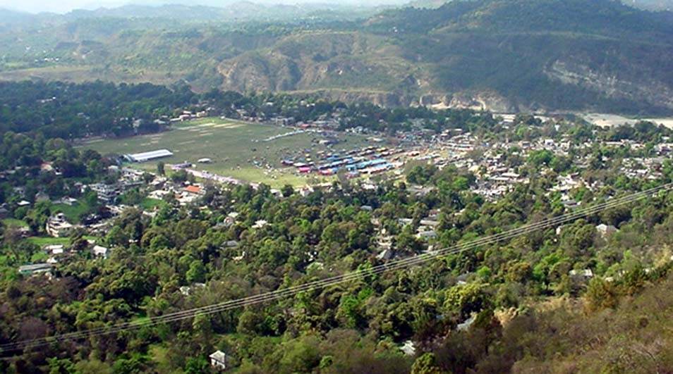 Sujanpur Town and Ground from a distance in District Hamirpur, Himachal Pradesh