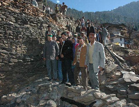 Himachal CM Virbhadra Singh at Mohani village