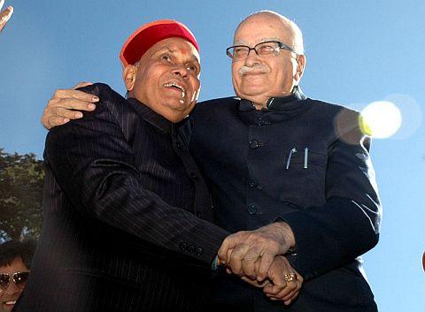 Prem Kumar Dhumal with L.K. Advani