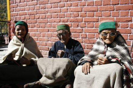Gazing through senile eyes these simple women remember voting for Nehru in the first election