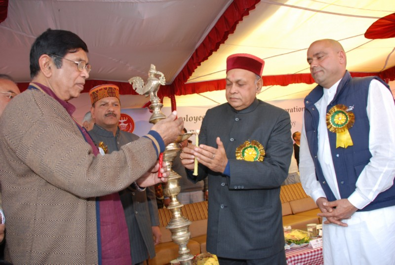 Oscar Fernades, Union Minister of Labour and Employment  lighting the lamp  on the occasion of foundation stone laying ceremony of  ESI Medical College and Hospital
