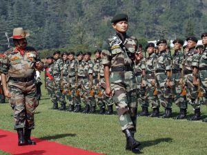 Lt General BS Jamwal taking a Guard Of Honour