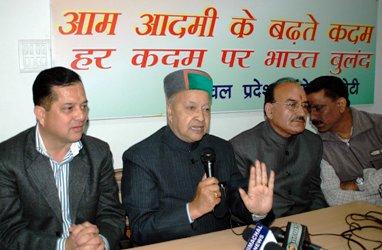 Steel minister Virbhadra Singh addressing media at Shimla -October 25