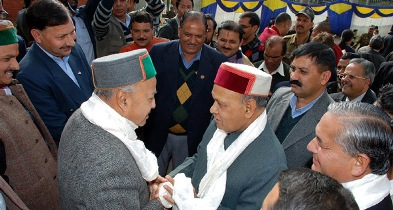 Dhumal and Virbhadra in their trademark caps