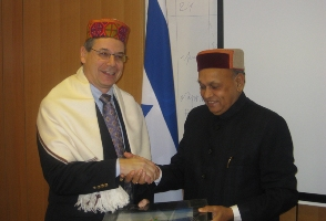Dhumal with Binyamin Ben-Eliezer, trade and culture minister Israel