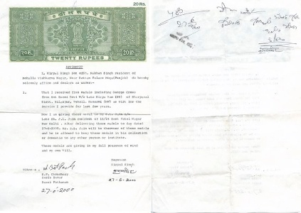 Kirpal Singh affidavit of handing over Medal to SL Jian of East Patel Nagar