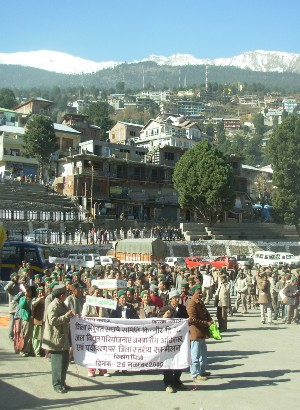 Tribal Kinnauri's hold protest in Reckong Peo over development of hydropower projects