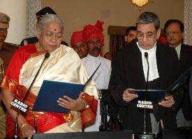 Governor Rau being sworn in as Governor of Rajasthan at Jaipur