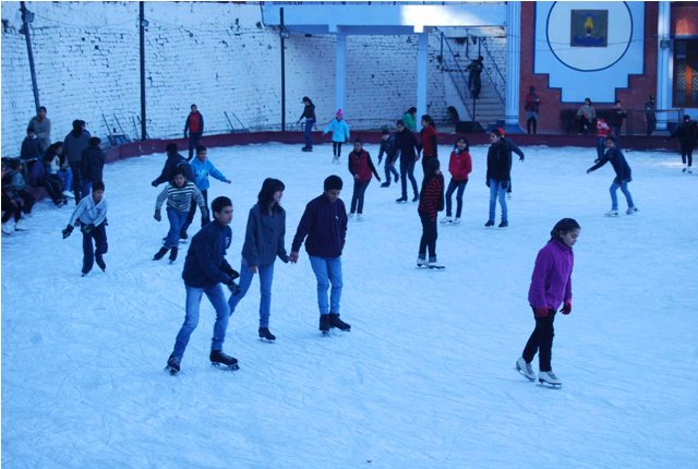 Children enjoy the morning chill out at Ice Skating Rink, Shimla
