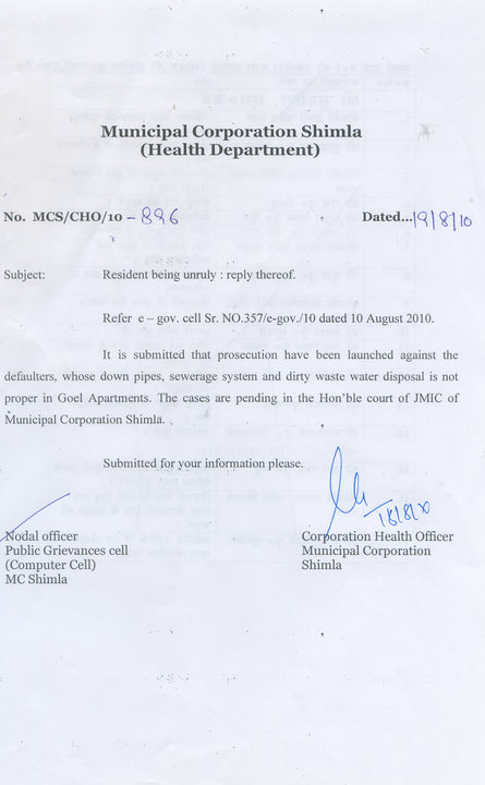 Municipal Corporation health Department Notice Against Deafulaters after HW complaint - Himachal Watcher, how to use eSamadhan, Shimla News, Himachal Pradesh News, Activism