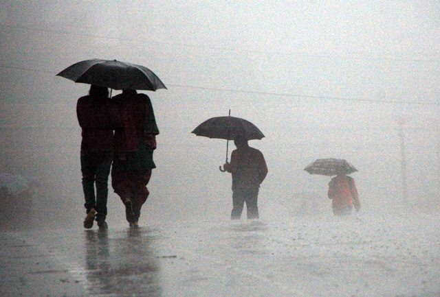 Heavy showers lashed Dharamshala in the Monday morning hours