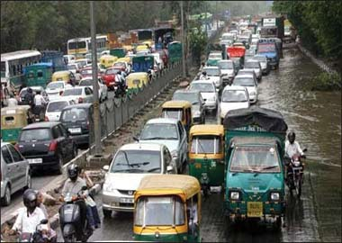 Delhi Rains Traffic Jam
