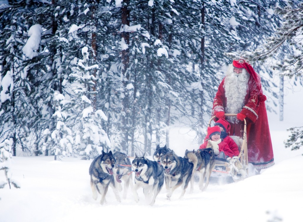 The ride of your life with Santa Claus and his husky dogs on a sleigh