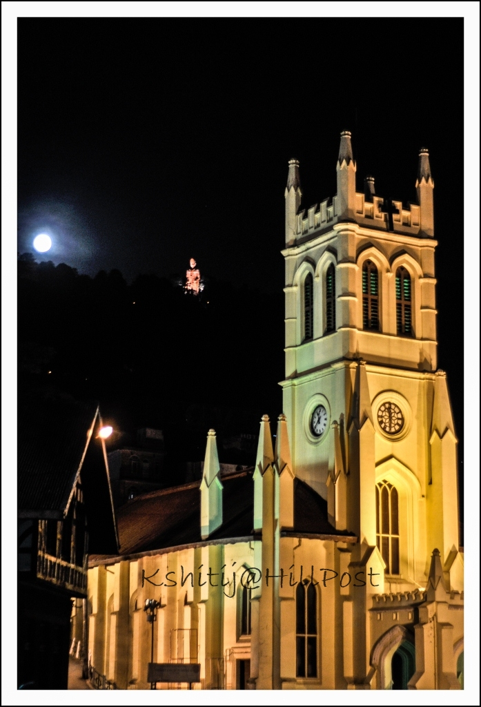 Christ Church Shimla Jakhoo Hanuman Temple in the Backdrop