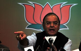 Arun Jaitley, leader of opposition, Rajya Sabha addresses media persons in Shimla on Tuesday.