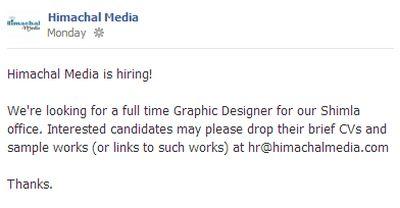 Himachal Media hiring