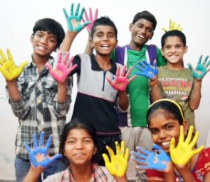 Delhi's Invisible Children in Limca Book of Records with colorful hands