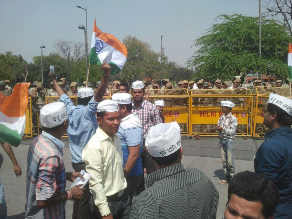 Kejriwal Supporters Halted by Police
