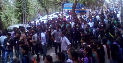Student gathering on campus