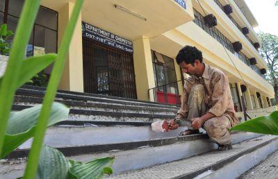Fresh coat of paint being applied at Himachal Pradesh University