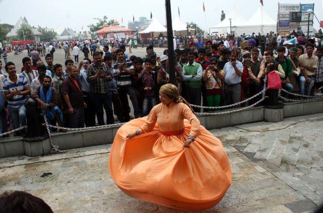 Swirling folk dancer