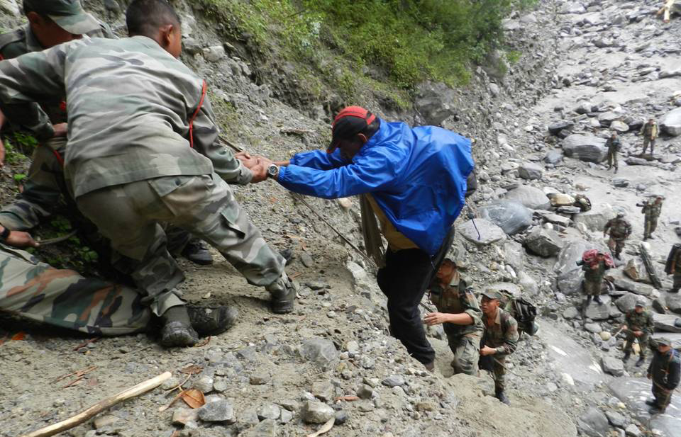 Army personnel busy in rescue operations in Pindari glacier, in Uttarakhand.