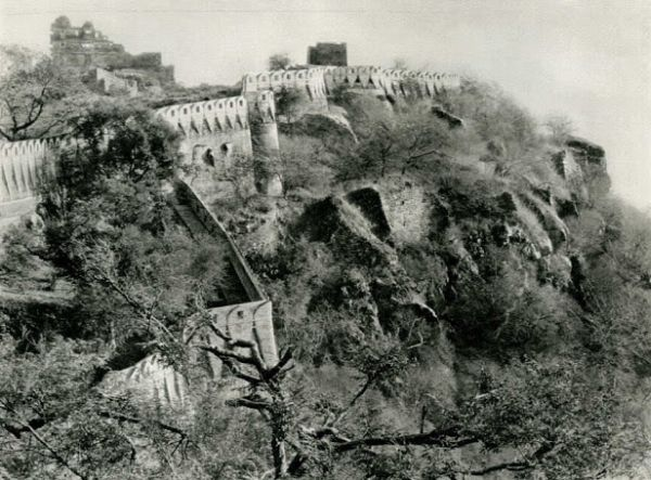 City Walls and Palace of Chittorgarh Fort, Rajasthan - India 1928