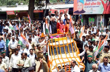 Pratibha Singh on a victory lap yesterday at Mandi