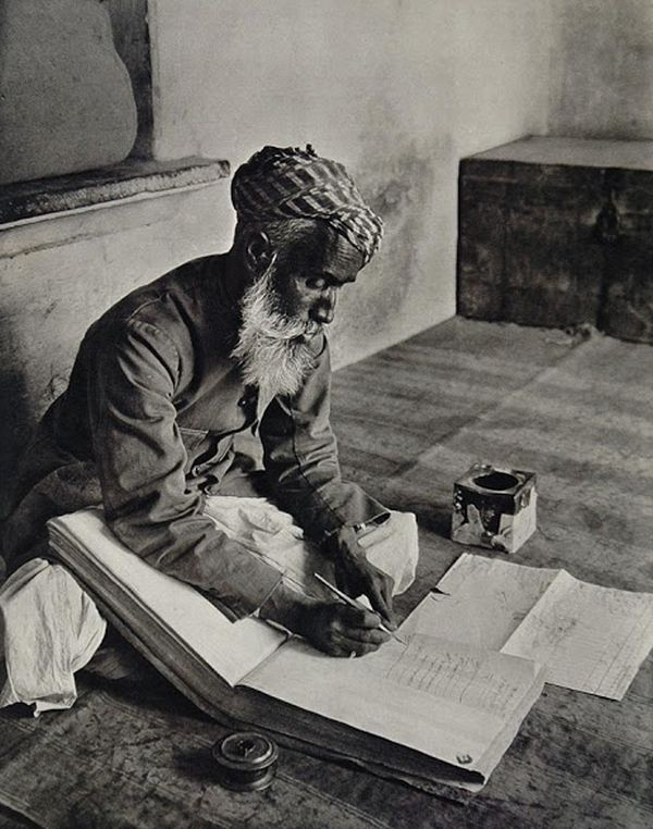 Indian Street Banker Making Notes in Urdu in a Ledger Book - Udaipur 1928
