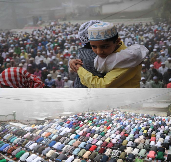 Eid prayers on a foggy morning, in the northern hill town of Shimla on Friday