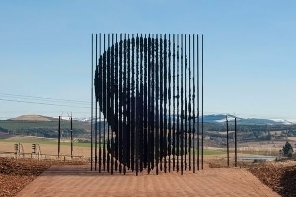 Nelson Mandela monument:  50 years ago he was arrested here in South Africa!