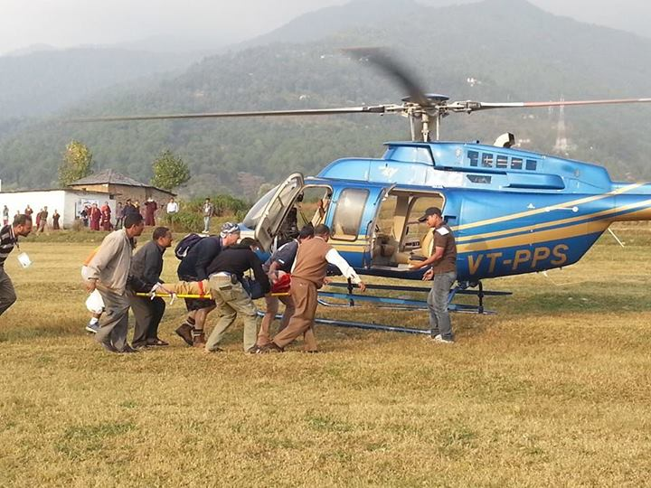injured pilot air lifted in 15 minutes for primary health treatment by management at bir billing.
